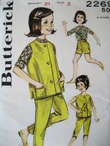 Butterick 2269 Vintage Unused Girls 2 Pattern 50s Peddle Pushers Vest - $9.95