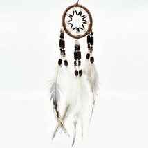 """Handcrafted Miniature 8"""" Natural Tone Dreamcatcher Plastic Wood Beads Feathers"""