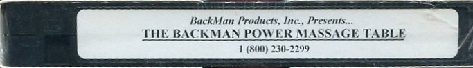 THE BACKMAN POWER MASSAGE TABLE VHS VIDEOCASSETTE