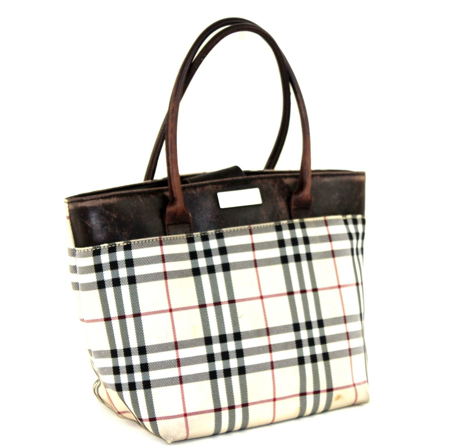 6e2d03f9caf5 57. 57. Previous. Authentic Burberry Nova Check Beige Canvas Brown Leather  Small Tote Hand Bag. Authentic Burberry ...