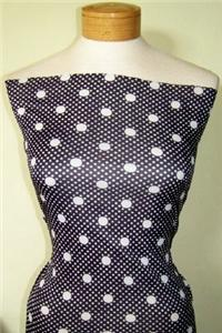 Primary image for CUTE BLACK & WHITE POLKA DOT LYCRA STRETCH FABRIC 1Y17""