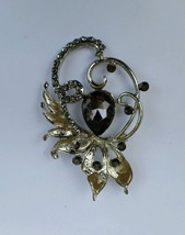 Stunning Silver Plated Black Stone Flower Brooch Cake Pin with DIAMANTE XMAS - $7.32