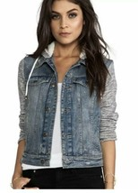 Free People Double Weave Denim Jacket Size XS Distressed Hooded Blue White - $33.25