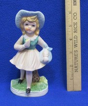 Rastal Country Girl Figurine Porcelain Walking w/ Snack & Knapsack Kerchief - $7.91