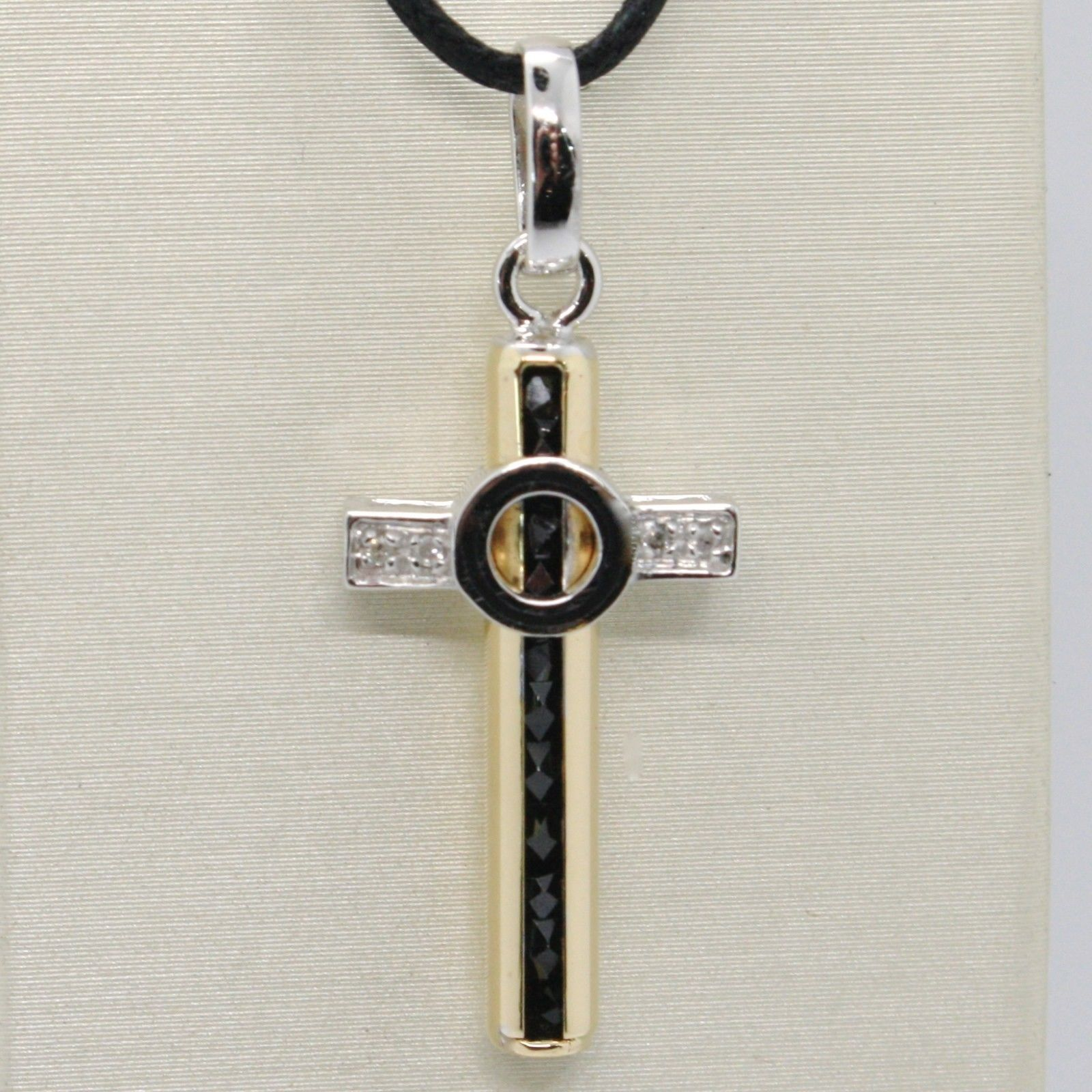 18K WHITE YELLOW GOLD CROSS WITH DIAMOND, BLACK SPINEL, TUBE STYLIZED ITALY MADE