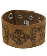 Tan Leather Snap Button Bracelet with Religious Angel Design - $10.88