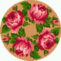 Latch Hook Rug Pattern Chart: Rose Circle - EMAIL2u - $5.75