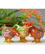 Art Glass Hand Blown Standing Chickens Hens Mul... - $59.95