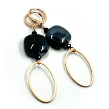 """ROSE EARRINGS BLACK SQUARE MURANO GLASS, OVAL PENDANT, 6.5cm 2.56"""" ITALY MADE image 1"""