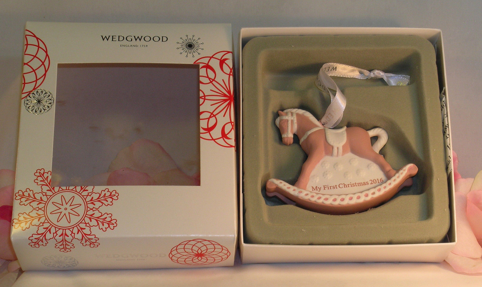 New Wedgwood Pink Jaspeware Baby 1ST First Christmas Rocking Horse Ornament 2016 image 2