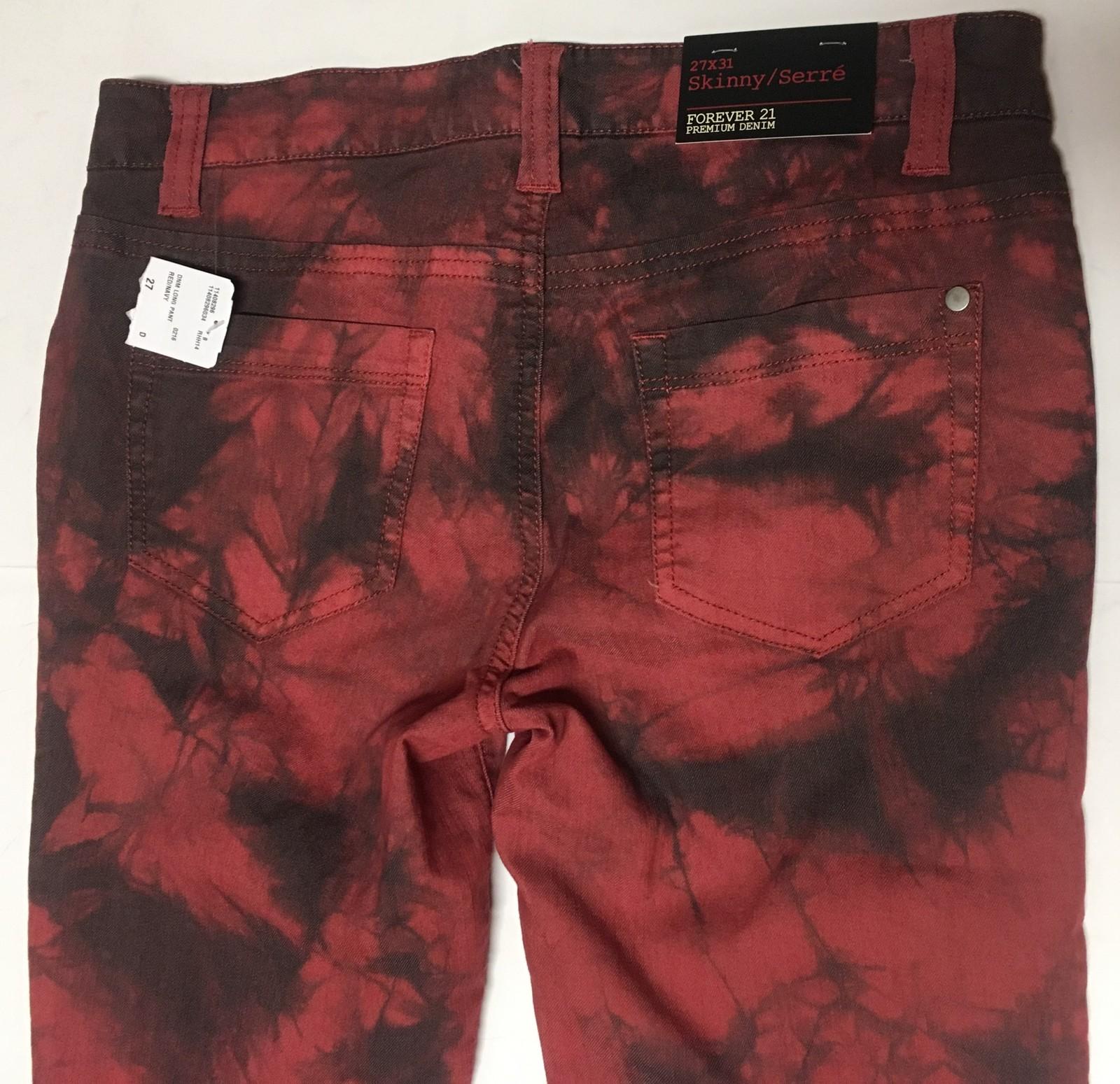 Forever 21 Denim Skinny Jeans Sz 27 x 31 Red & Black Tie Dyed  image 4