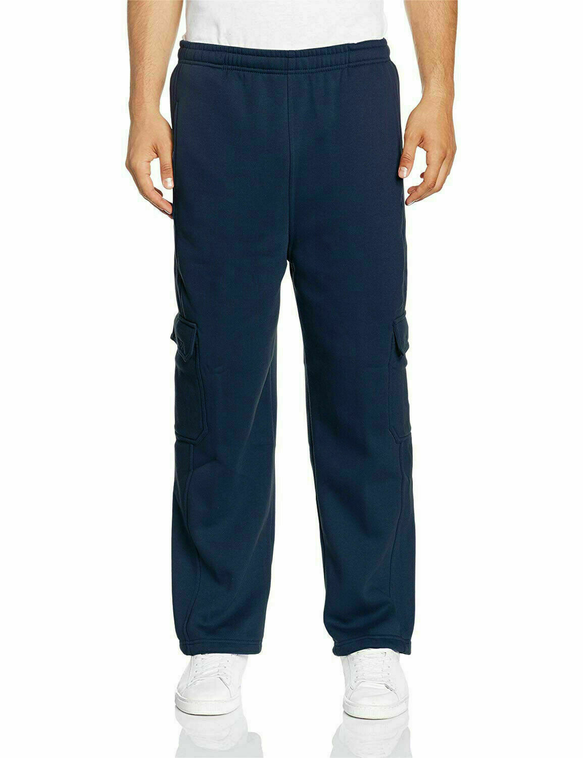 Mens Heavy Fleece Casual Plain Athletic Gym Sport Cargo Navy Sweatpants - M