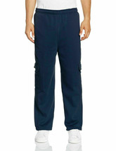 Mens Heavy Fleece Casual Plain Athletic Gym Sport Cargo Navy Sweatpants - M image 1
