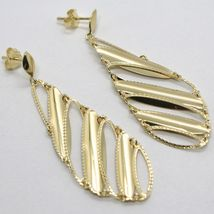 SOLID 18K YELLOW GOLD LONG PENDANT EARRINGS FINELY WORKED DROPS, MADE IN ITALY image 3