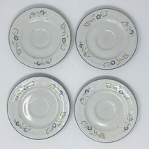 """Citation Stoneware """"Shades Crest"""" Set of Four Saucers 6 Inches Blue Floral - $26.72"""