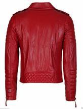Men's Red Slim Fit Quilted Biker Leather Jacket image 3