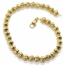 18K YELLOW GOLD BRACELET 19 CM, FINELY WORKED SPHERES BIG 5 MM DIAMOND CUT BALLS image 1
