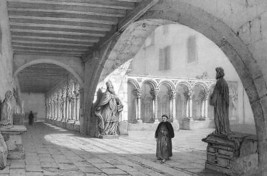 FRANCE Interior of Cloister at Aix - SUPERB Litho Antique Print - $26.96