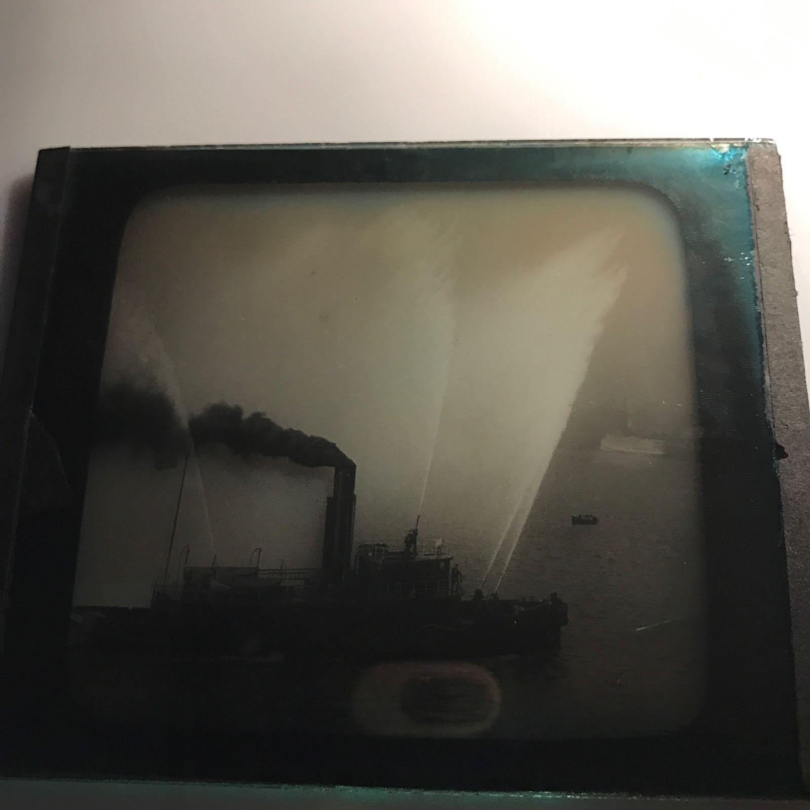 Vtg Magic Lantern Glass Slide Photo Fireboat Water Cannons American Flag
