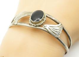 MEXICO 925 Silver - Vintage Black Onyx Twist Wing Detail Cuff Bracelet -... - $46.03