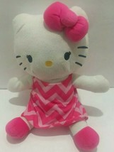 Hello Kitty Stuffed Animal By Northwest/Sanrio 2015 Stuffed Plush Pink Dress - $14.21
