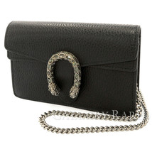 GUCCI Dionysus Super Mini Shoulder Bag Leather Black 476432 Italy Authentic - $757.56