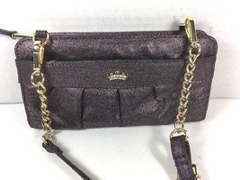 Juicy Couture Small Metallic Purple Fabric Wallet Crossbody Shoulder Bag - $26.18
