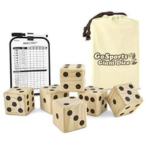 "GoSports Giant 3.5"" Wooden Playing Dice Set with Bonus Rollzee Scoreboar... - $26.59"