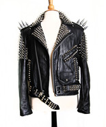 Handmade Women Black Silver Studded Leather Jacket - $249.99