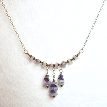 Amethyst Necklace for Women Purple Gemstone Jewelry Handcrafted Ladies Gift - $59.00