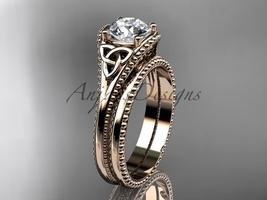 Celtic knot wedding rings sets 14k rose gold engagement ring CT7375S - $1,095.00