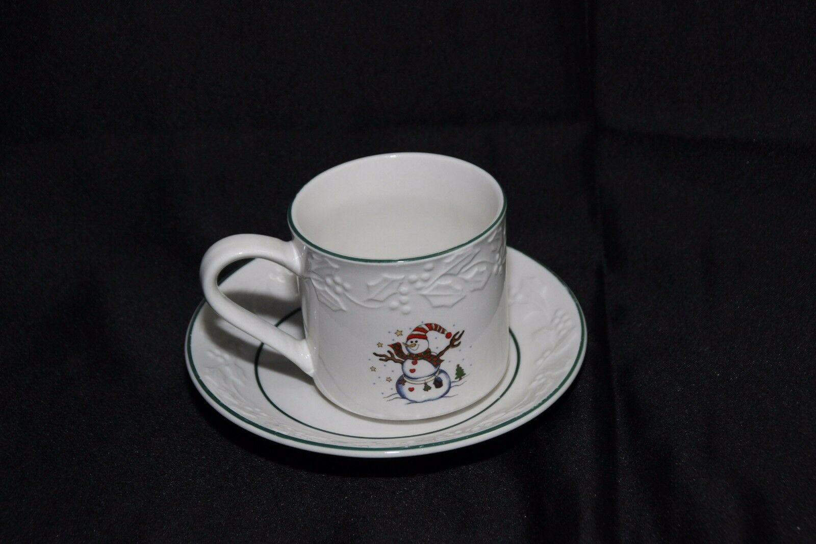 GEI Snowman Xmas 4 Cups 2 Saucers image 2