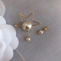 """Authentic Christian Dior Tribal Earrings """"DIOR TRIBALES"""" Crystal Star Gold image 4"""
