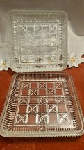 Vintage Crystal Candy Dish Serving Tray Good Condition Set of 2