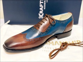 Handmade Men's Brown & Blue Wing Tip Brogues Lace Up Dress/Formal Oxford Shoes image 5