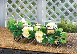 WHITE FAUX FLORAL CENTERPIECE CANDLEHOLDER W/METAL FRAME,3 CANDLE CUPS, - $27.79