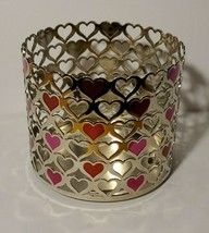 Bath And Body Works Hearts Pink Red Silver  3 Wick Candle Holder New - $18.80