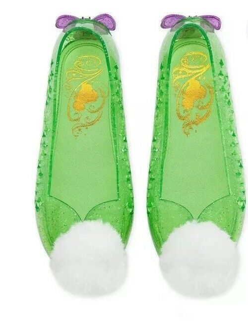 Disney Store Deluxe Tinkerbell Slip In Glitter Jelly Wedge Shoes Pom Pom Sz 2/3 image 2