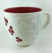 Starbucks 2010 White Christmas Coffee Mug Cup Embossed Red Holly Berries... - $19.59