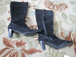 A2 By Aerosoles Women US Size 9 1/2 M Black Suede Leather Knee High Boots - $46.39