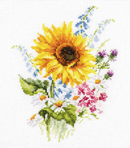 Cross Stitch Kit Hand Embroidery Flowers Bouquet with a Sunflower - $26.98