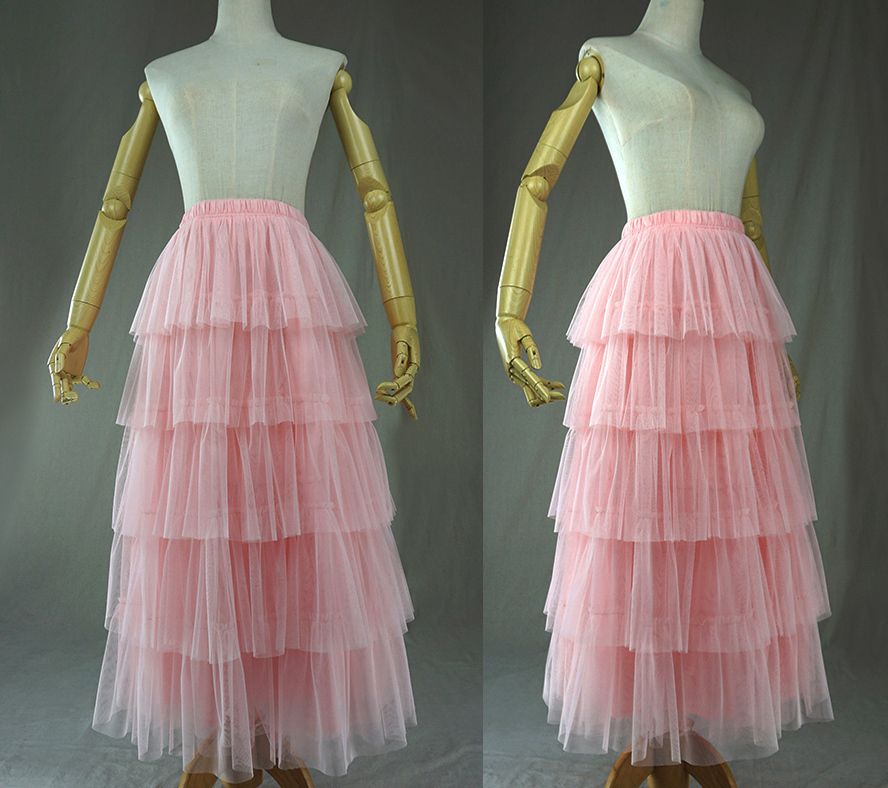PINK TIERED Tulle Skirt Lady High Waist Tiered Tulle Party Skirt Princess Outfit