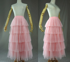 PINK TIERED Tulle Skirt Lady High Waist Tiered Tulle Party Skirt Princes... - $68.99