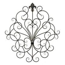 European Design Iron Scrollwork Plaque Wall Decor w/ Fleur De Lis Accents - $48.45