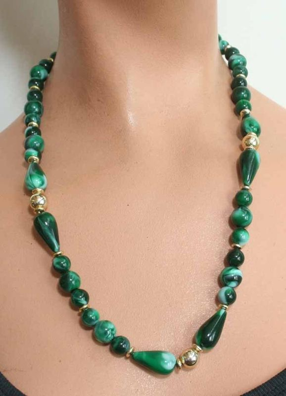 Primary image for Art Moderne 80s Stunning Sim Green Agate Necklace