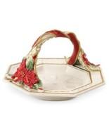 Fitz and Floyd 49-358 Poinsettia Santa Basket Bread, Red White NEW - $39.99