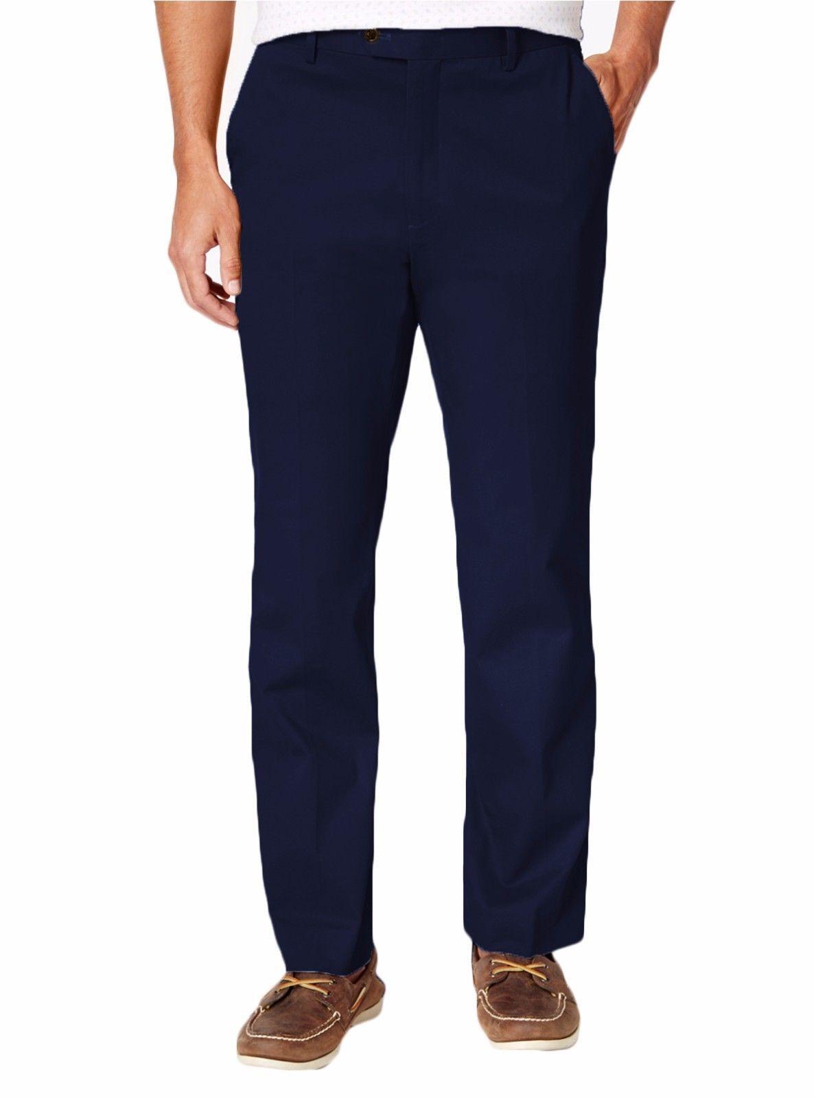 NEW MENS TASSO ELBA SIGNATURE CHINO FLAT FRONT BLUE NAVY PANTS - $22.99