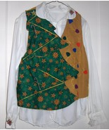 Handmade Christmas Tree Vest and Blouse size medium 10/12 One of a Kind  - $18.00