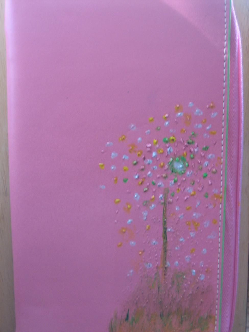 NEW Baakegard(Liz Claiborne) Pretty In Pink Handpainted Leather Passport Case
