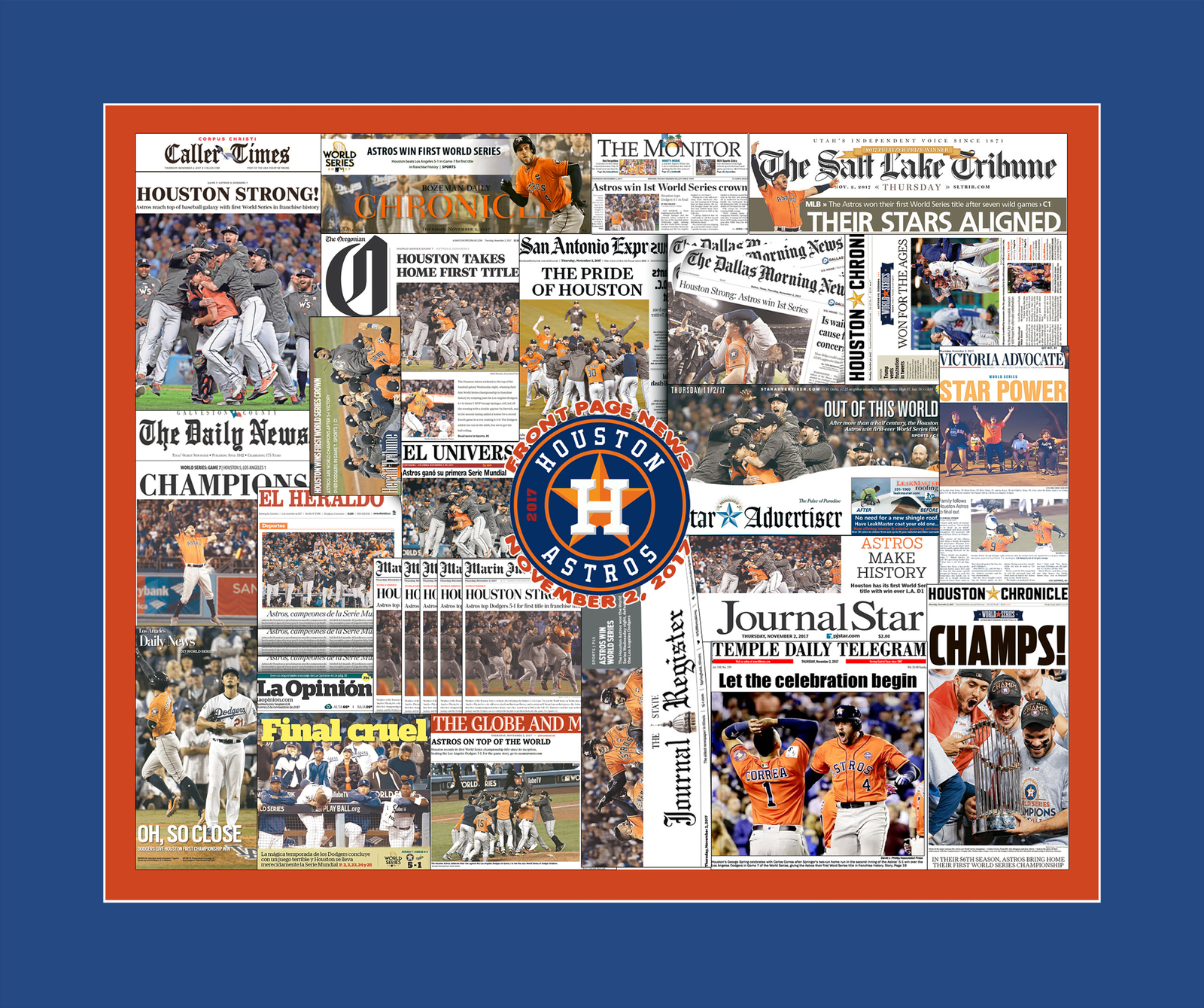 Houston Astros 2017 World Series Newspaper Collage Print Art. Framed or Unframed